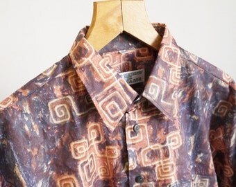 80's shirt C&A 80's 90's Vintage Shirt Abstract print Long sleeve Party Hipster Groovy Street Style medium large size