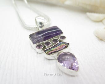 Amethyst and Fresh Water Pearl Sterling Silver Pendant and Chain