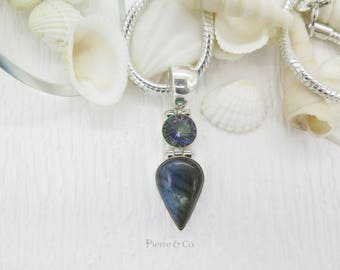 Mystic Topaz and blue Labradorite Sterling Silver Pendant and Chain