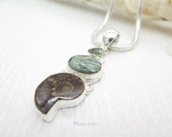 Green Amethyst Seraphinite and Ammonite Fossil Sterling Silver Pendant and Chain