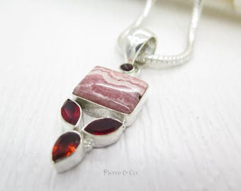Square shape Rhodochrosite and Garnet Sterling Silver Pendant and Chain