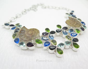Ammonite Fossil Blue Topaz Amethyst Citrine Peridot Sterling Silver Necklace