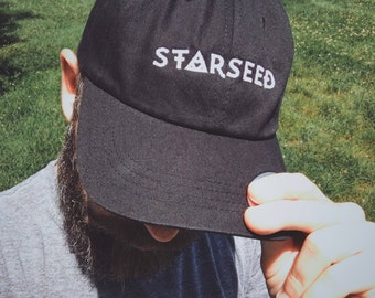 Starseed Hat - Embroidered Dad Hat - Metaphysical, Astral, Cosmic, Extraterrestrial Head Ornament - Adjustable Cap - Black/White