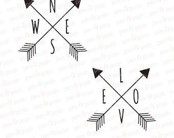 Arrow SVG - Love SVG - Love Arrow SVG - Compass  Love Compass  Arrow Compass  Clipart Dxf   SIlhouette Cricut