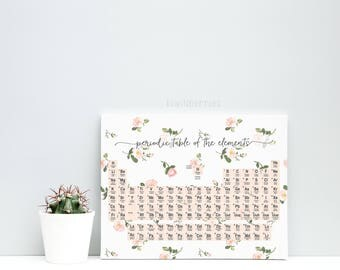 Periodic table print - Back to school - School supplies - Science Poster - Chemistry Poster - Science Art - Science Wall Art - Floral chic