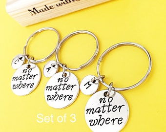 Sale,Charm bff keychain, 3 BFF Keychain Gift Best Friends Set of 3 No Matter Where Keychain 3 Best Friends 3 BFF Keychain Customized Gifts,