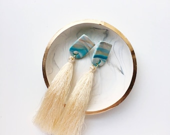 The Piper Earring // Turquoise & Gold Tassel Polymer clay earring, statement earring, dangly tassel earrings
