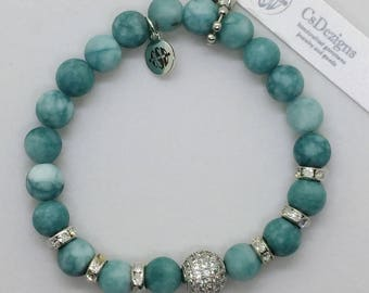 Amazonite Green Gemstone and Silver Micro Pave CZ Beads Bracelet, Valentines Day Gift for her! Stretch. Boho Beach Yoga Healing Jewelry