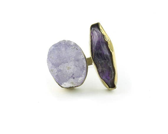 Brass Amethyst Drusy Ring, Gemstone, Raw Stone Ring, Druzy ring, Crystal Ring,Tribal, Ethnic Ring, Gypsy, Hippie,Statement, Festival, Boho