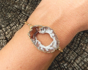 Geode Slice Bracelet 14K Gold Freeform Agate Druzy Crystal White Black Brown Multi-Color Gold Filled Chain - Free Shipping OOAK Jewelry