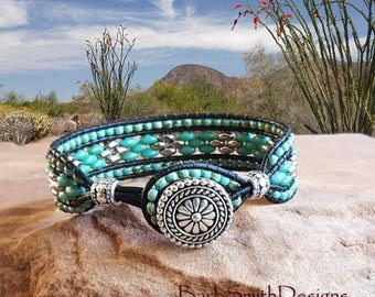 "Turquoise Black Silver Beaded Leather Bracelet-Wrap Bracelet-Southwest-Size 6 5/8""-Custom Sizes-Blinged-Out Skinny One in Turquoise n Black"