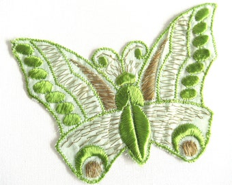 Green Butterfly Applique, 1930s Vintage patch, Sewing supply, Crazy quilt. #6A8G43KB