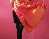 Banarasi silk stoles wedding Indian Dupatta scarf women ethnic pink gold handmade bridesmaid stolen Gift Christmas fringe