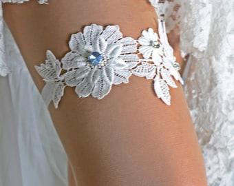 White Flower Lace Wedding Garter Set For Bride, Wedding Garter, Bridal Garters White, Garter Set Prom, Wedding Toss Garter, Lingerie Garter