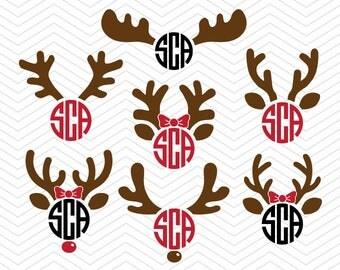 Reindeer antler Monogram svg Frame DXF SVG PNG eps Vinyl winter christmas deer decal Cricut Design, Silhouette studio, Instant Download