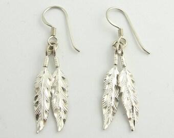 Sterling Silver  Feather Dangle Earrings
