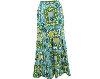 70s Mod Hawaiian Print Maxi Skirt-1970s Tapa Print-Mermaid Skirt- Tiki-Luau-Cruise-Resort-Tropical-M-Med