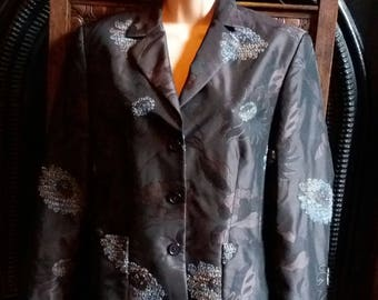 vintage taffeta jacket with tapestry panels