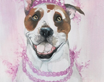 Pitbull Painting, Pitbull ORIGINAL WATERCOLOR PAINTING, Pitbull Terrier, Original Artwork, Original Painting