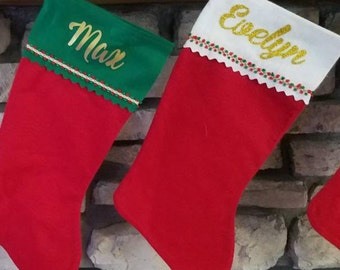 Personalized Christmas stockings, Green or White, Gold Glitter, Christmas Socks