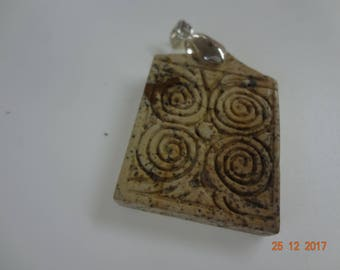Pendant with Maltese Neolithic circles in natural stone
