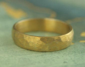 Gold Plated Men's Band~Hammered Band~5mm Wide Band~Hammered Half Round Band~Men's Hammered Ring~Hammered Silver Band~Gold Plated Ring
