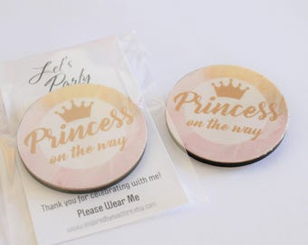 Pink and Gold Marble Wooden Badges - Baby Shower Bridal Showers Hens Night Bachelorette Party Badge - Princess Birthday Favours