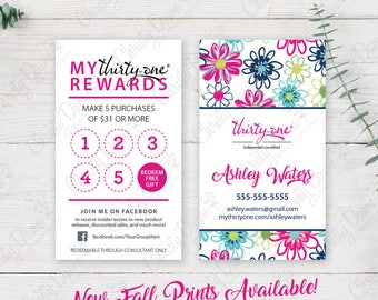 Thirty One Punch Card - Spring & Fall 2017 Patterns (template)