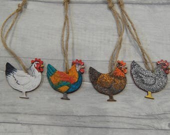 Hand painted wooden hanging chicken decorations