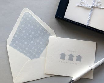 Happy House-iversary! Real Estate Agent Card - Realtor Note Cards - Slate Blue Houses