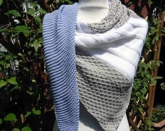 Shawl KNITTING CLOTH shawl scarf shawl cotton hand knitted jeans blue white sand