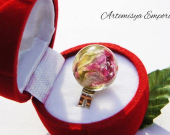 ring rose real flower engagement ring girlfriend gift love present girlfriend