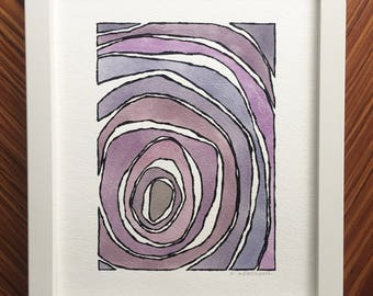 Abstract watercolor, purple painting, abstract painting, original watercolor, original painting, small abstract art, handmade painting