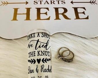 SET of Take a Shot We Tied the Knot Shot Glasses // Couples Shot Glasses // Shot Glass // Wedding Favors // Custom Shot Glasses