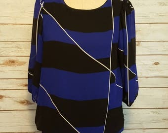 Vintage, 80's, Blue & Black striped drop waist dress/ Medium