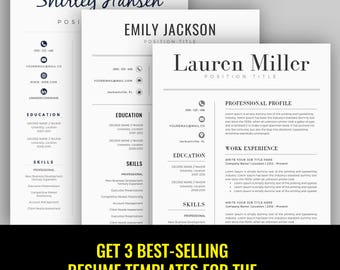 Modern Resume Template / CV Template for Word, Cover Letter, Two Page Resume, Teacher Resume, professional Resume, INSTANT DOWNLOAD
