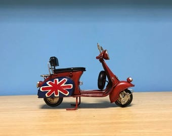 Vintage red vespa scooter miniature,with painted GB flag,Doll Vespa,Doll scooter,Dollhouse miniature,Toy scooter vespa
