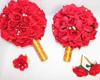 10 PIECE WEDDING PACKAGE, Bridal Bouquet, Bridesmaids Bouquets, Corsages & Boutonnieres, Red Silk Rose Wedding Package, Custom Packages