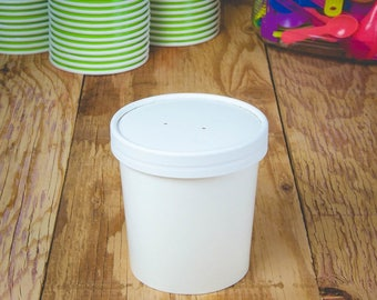 Pint 16 oz Premium Ice Cream To Go Containers and Lids