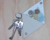 Porte-monnaie beige en simili cuir et porte-clés 2 en 1