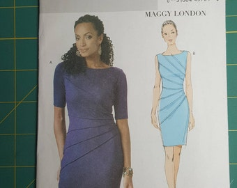 Butterick 5559, Misses Dress Sewing Pattern, Maggy London, Size AA (6, 8, 10, 12), Close-fitting, above mid-knee, pullover, stitched tucks