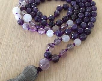 Amethyst & Flourite Mala, Spiritual connection, Crown chakra, 3rd Eye chakra, yoga jewelry, gemstone mala, handmade mala, bead necklace