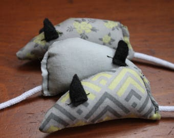 Mouse Cat Toy With Catnip - Grey, Green, Black, Floral, Aztec