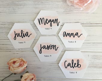 Watercolor Wedding Place Settings, Name and Table Number, Marble Table Numbers, Place Cards, Place Settings, Calligraphy Hand-Lettered Tiles