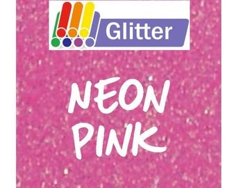 Siser Glitter Heat Transfer Vinyl - Iron On - HTV - Neon Pink