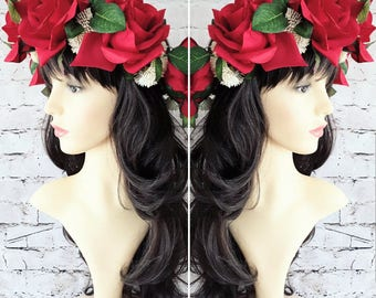 Red Rose Flower Crown