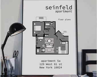 Seinfeld Apartment Layout TV Show Floor Plan BluePrint