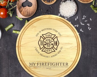 Engraved Cutting Board, Personalized Round Cutting Board, Wedding Gift, Gift for Couple, Bridal Shower, Christmas, Firefighter Gift, B-0109