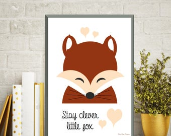 Fox poster, Stay clever little fox quote, Fox print, Nursery decor wall art, Nursery quote print, Child room decor, Nursery art animals
