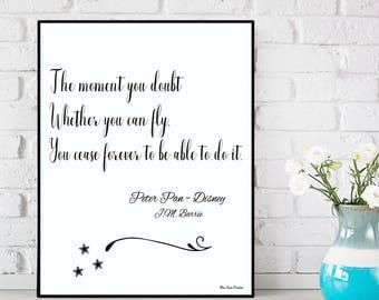 You can fly quote, Peter Pan quote, Disney quote, Kids room wall decor, Nursery wall Decor, Nursery print, Disney poster, Disney print